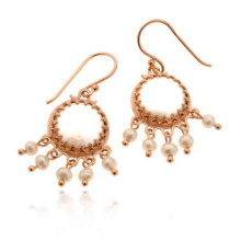 14k Rose Gold Pearl Chandelier Earrings - Baltinester Jewelry