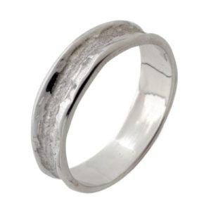 14k White Gold Florentine Hammered Wedding Ring - Baltinester Jewelry