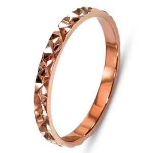 14k Rose Gold Faceted Narrow Wedding Band - Baltinester Jewelry