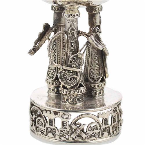 Silver Music Band Eilat Stone Kiddush Cup 3 - Baltinester Jewelry