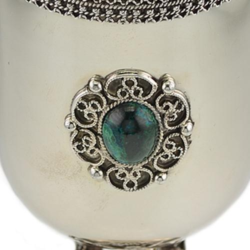 Silver Music Band Eilat Stone Kiddush Cup 2 - Baltinester Jewelry