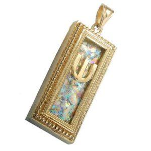 14k Gold Yemenite Roman Glass Mezuzah Pendant - Baltinester Jewelry