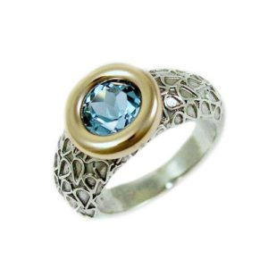 Silver and Gold Blue Topaz Ring - Baltinester Jewelry