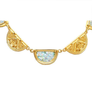14k Gold Roman Glass Necklace - Baltinester Jewelry