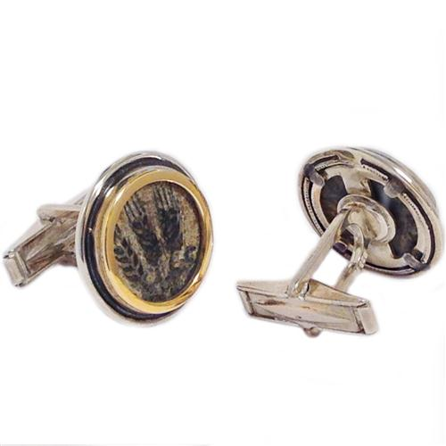 Silver and 14k Gold Round King Agrippa Coin Cufflinks 2 - Baltinester Jewelry