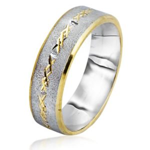 Two Tone 14k Gold Florentine Wedding Band - Baltinester Jewelry