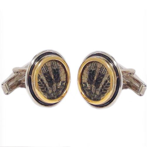 Silver and 14k Gold Round King Agrippa Coin Cufflinks - Baltinester Jewelry