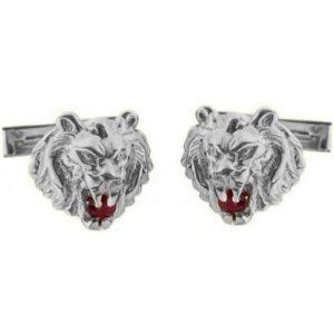 Sterling Silver Ruby Lion of Judah Cufflinks - Baltinester Jewelry