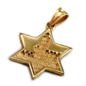 14k Gold Jerusalem Star of David Pendant - Baltinester Jewelry