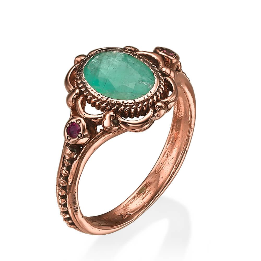 Raw Emerald and Garnet Rose Gold Ring - Baltinester Jewelry
