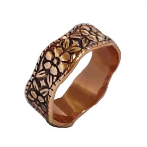 14k Rose Gold Antique Style Rose Engraved Band - Baltinester Jewelry