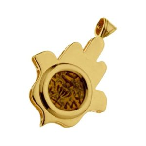 14k Gold Hamsa Pendant with Masada Coin - Baltinester Jewelry