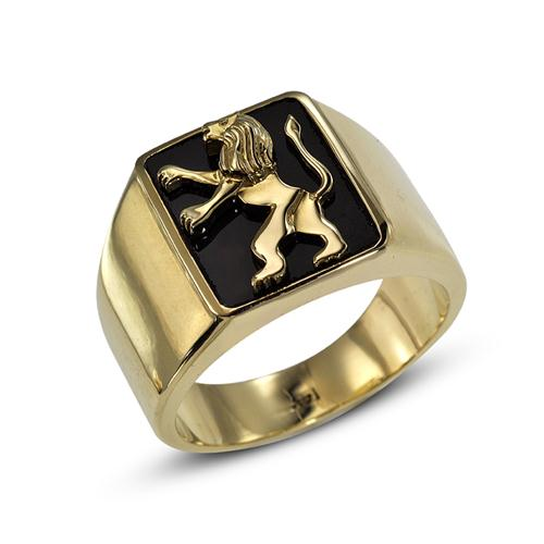 14k Lion of Judah Signet Onyx Ring - Baltinester Jewelry