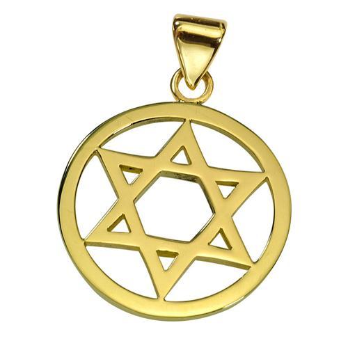 Classic 14k Gold Star of David Round Pendant - Baltinester Jewelry