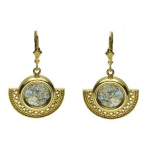 14k Gold Half Circle Roman Glass Earrings - Baltinester Jewelry