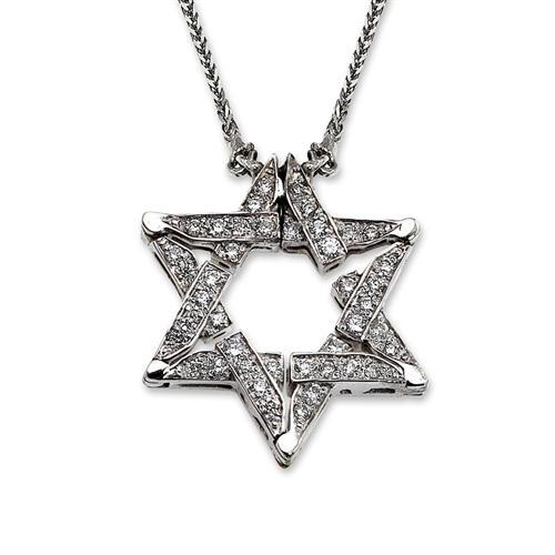 14k White Gold Diamond Butterfly Star of David Necklace - Baltinester Jewelry