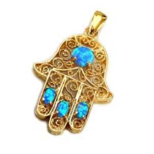 14k Gold Blue Opals Hamsa Pendant - Baltinester Jewelry