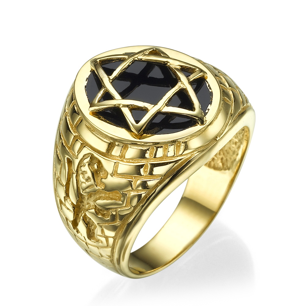 14k Yellow Gold Onyx Star of David Signet Ring - Baltinester Jewelry