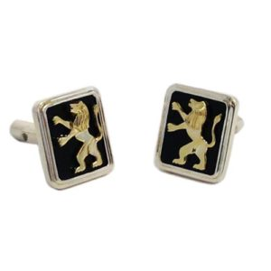 14k Gold Lion of Judah Silver and Onyx Cufflinks - Baltinester Jewelry