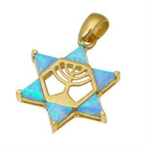 14k Gold Opal Star of David Menorah Pendant - Baltinester Jewelry