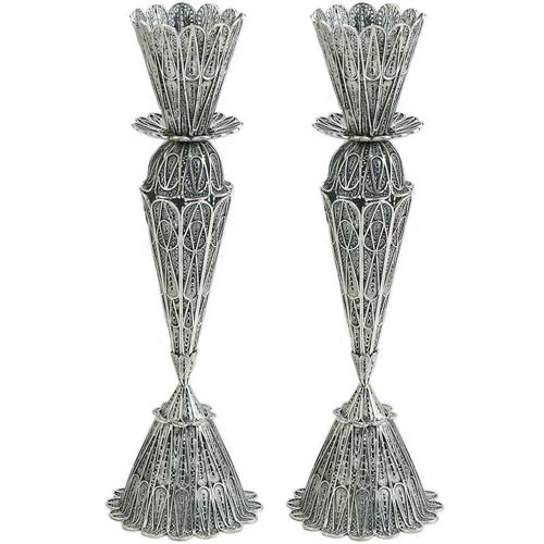 Large Filigree Lace Silver Candle Holders - Baltinester Jewelry