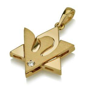 18k Gold Diamond Star of David Dove Pendant - Baltinester Jewelry