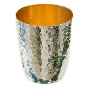 Sephardic Silver Hammered Kiddush Cup - Baltinester Jewelry