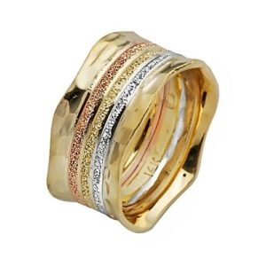 Tri-Color Gold Wedding Ring 14k - Baltinester Jewelry