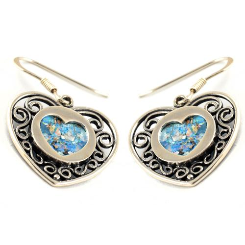 Silver Heart Shape Roman Glass Earrings - Baltinester Jewelry