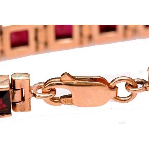 14k Rose Gold Garnet Tennis Bracelet 3 - Baltinester Jewelry