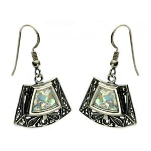 Sterling Silver Roman Glass Trapezoid Earrings - Baltinester Jewelry