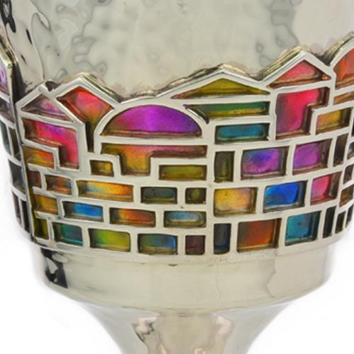 Enamel Rainbow Jerusalem Hammered Silver Stem Kiddush Cup 6 - Baltinester Jewelry