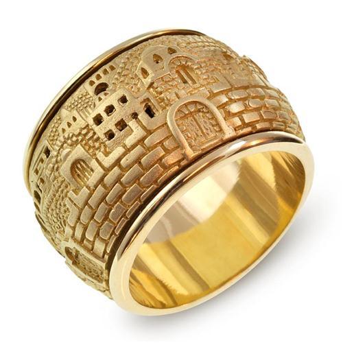 Gold 3D Jerusalem Spinning Ring 2 - Baltinester Jewelry