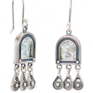 Bohemian Chic Silver Roman Glass Chandelier Earrings - Baltinester Jewelry