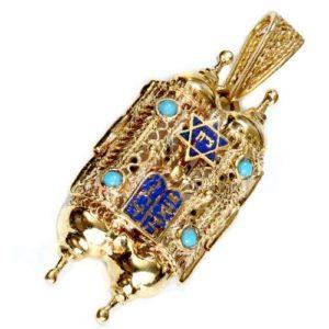 Turquoise 14k Gold Filigree Torah Pendant - Baltinester Jewelry