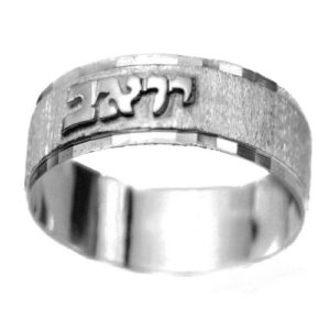 Silver Diamond-Cut Bordered Name Ring - Baltinester Jewelry