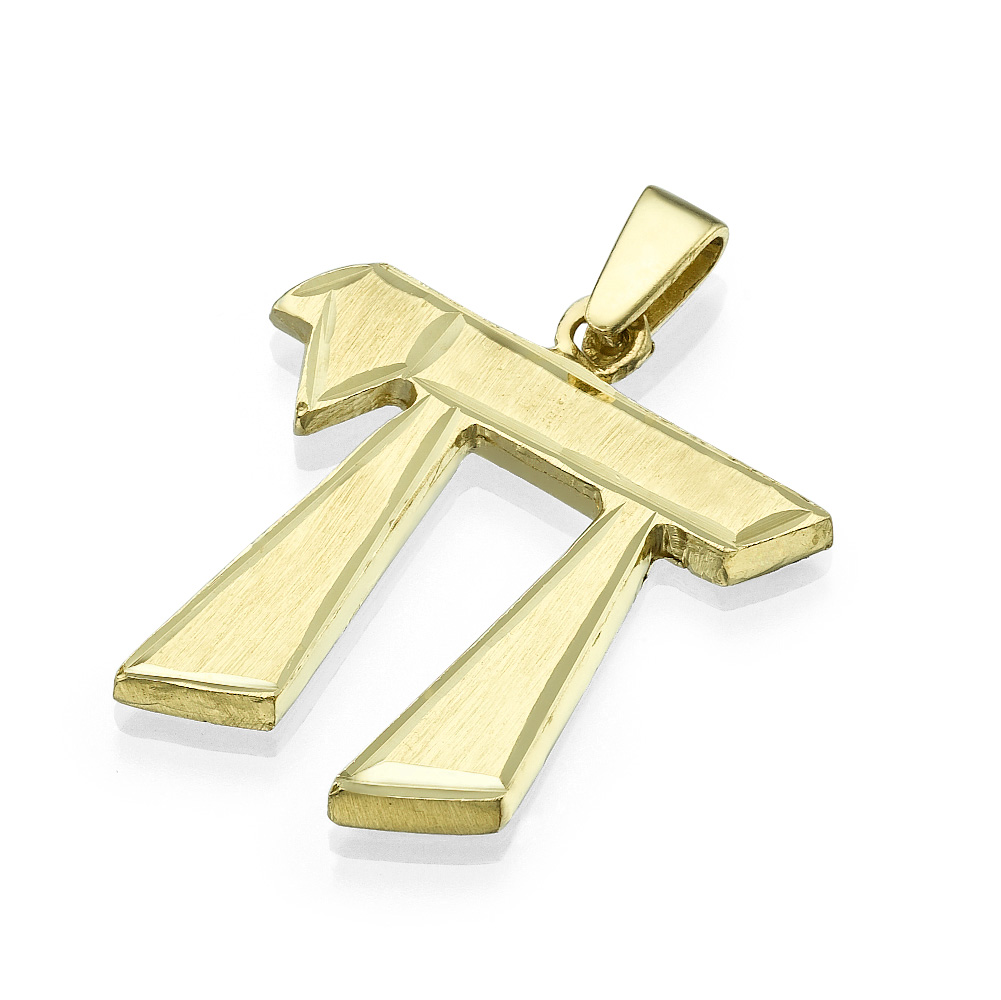 Dual Finish 14k Yellow Gold Angled Hai Pendant - Baltinester Jewelry