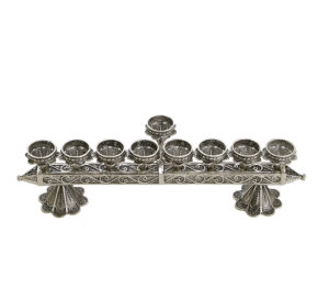 Elaborate Sterling Silver Hanukkah Menorah - Baltinester Jewelry