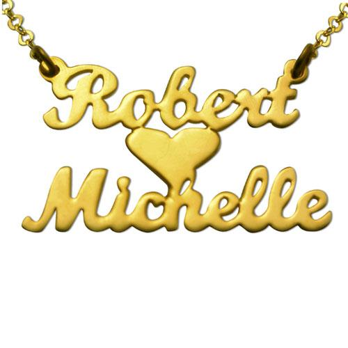 Gold Plated Lovers Heart Name Necklace - Baltinester Jewelry