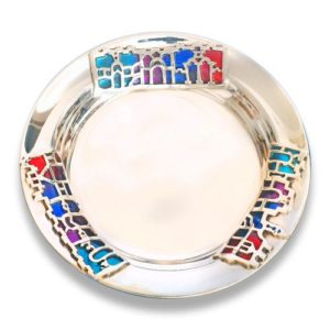 Silver Jerusalem Enamel Kiddush Plate - Baltinester Jewelry