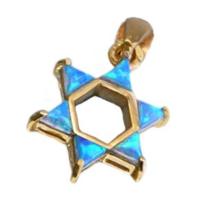 14k Gold Opalite Star of David Pendant - Baltinester Jewelry