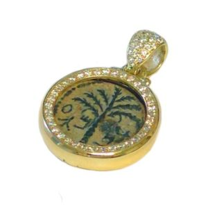 14k Gold Bar Kokhba Coin Diamond Round Pendant - Baltinester Jewelry