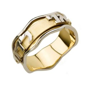 14k Gold Two Tone Wavy Ani L'dodi Spinning Ring - Baltinester Jewelry