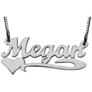 Silver Underline Side Heart Script Name Necklace - Baltinester Jewelry