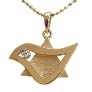 18k Gold Diamond Dove of Peace Star of David Pendant - Baltinester Jewelry
