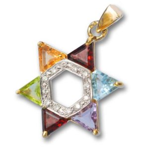 14k Gold and Diamond Multicolored Star of David Pendant - Baltinester Jewelry