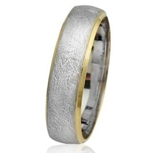 14k White and Yellow Gold Florentine Wedding Ring - Baltinester Jewelry