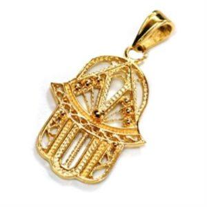 14k Gold Hamsa Filigree Pendant - Baltinester Jewelry