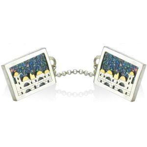 Jerusalem Skyline Silver and Gold Roman Glass Tallit Clips - Baltinester Jewelry