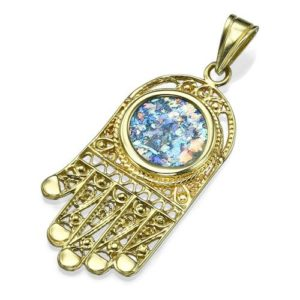 14K Yellow Gold and Roman Glass Filigree Hamsa Pendant - Baltinester Jewelry
